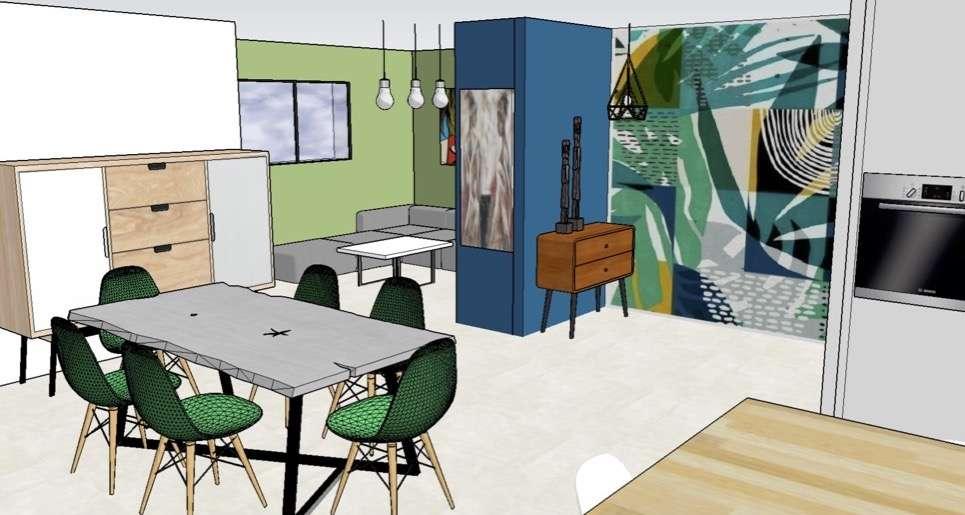 Visuel 3D, vue vers le séjour avec un mur décoré par un papier peint très végétal dans les tons bleus et vert