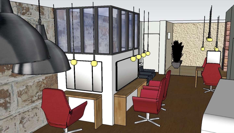 Visuel 3D, vue rapprochée des 3 postes de coiffure situés autour du labo technique