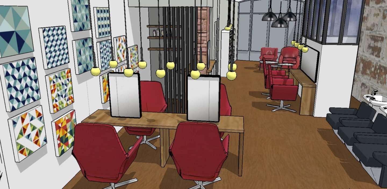 Visuel 3D, prise de vue du fond du salon pour voir le petit bureau comptoir caisse