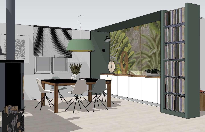 Vue 3D, Le séjour est équipé d'un long meuble bas, façade blanche et plateau en noyer. Au mur figure un papier peint panoramique au thème jungle.