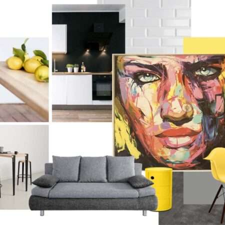 La planche ambiance décrit une ambiance moderne chic vitaminée d'accessoires déco de couleur jaune