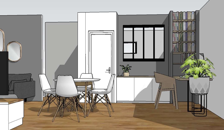 Visuel 3D de la nouvelle séparation pour créer une chambre