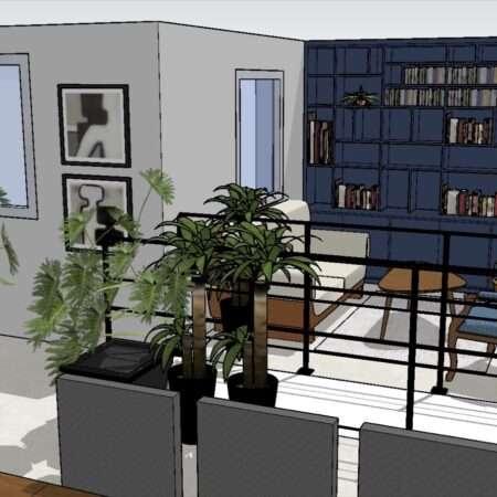 Le visuel 3D présent le garde-corps et en fond la bibliothèque